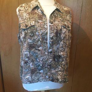 1X C.J. Banks brown paisley jean vest